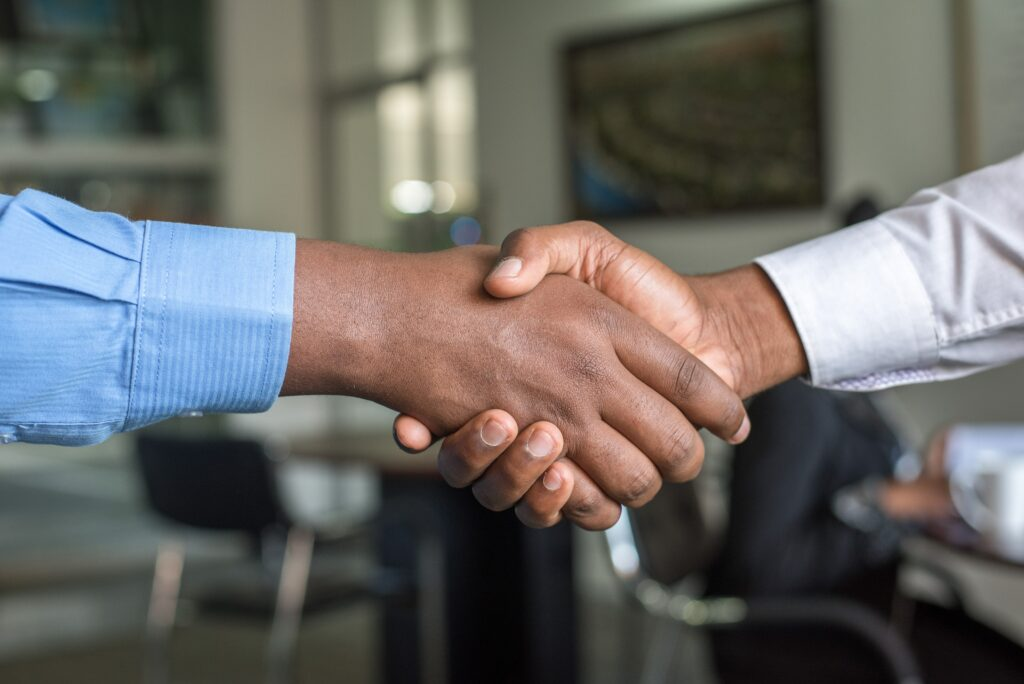 An image of a trustworthy handshake.